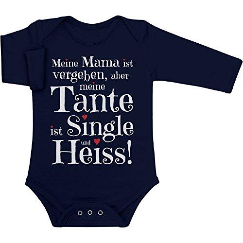 Geschenke für und von Tante - Meine Tante ist Single und Heiss Baby Langarm Body 6M Marineblau