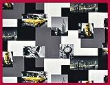 Tissu d'ameublement microfibre imprimé NEW YORK taxi tissu décoration vendu au mètre T187 03
