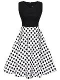 FAIRY COUPLE 50er V-Ausschnitt Rockabilly Polka Blumen Jahrgang Kleid Cocktail DRT072(M,Schwarz + Weiß Schwarz Punkte)