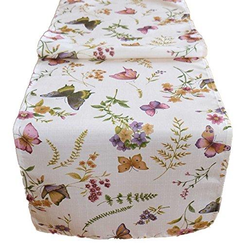 SIDCO ® Tischläufer Sommer Schmetterling Tischband Blumen Läufer Tischdecke 140x40cm (Läufer Blumen)