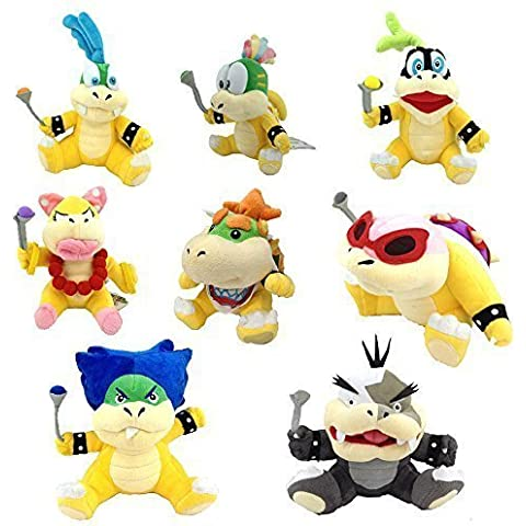 Set di 8 peluche, motivo: Koopalings di Super Mario Bros, Baby Bowser Jr., Iggy, Larry, Wendy, Lemmy, Ludwig, Roy,