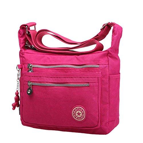 Mädchen Umhängetasche,Amlaiworld Freizeit Damen Mädchen wasserdicht Nylon Messenger Bags Schultertaschen (Hot Pink)