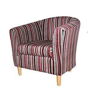 Stripe Fabric Tub Chair Red Kitchen Home