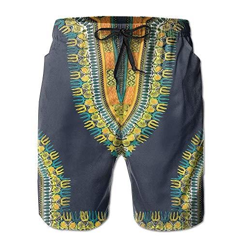 Bensontop Bermudas Dashiki Tribales africanas Hippie para Hombre Pantalones Cortos de Playa XL