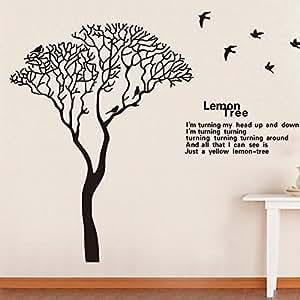 Hot 230*170cm grand fond d'écran noir Lemon Tree oiseaux autocollants de devis Salon adesivo décoration Stickers muraux de parede