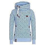 Damen Lange Ärmel Hoodie Frauen Kapuzenpullover Pullover mit Kapuze Cross Over Kragen und Fleece Innenseite Blau 5XL