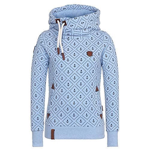 Damen Lange Ärmel Hoodie Frauen Kapuzenpullover Pullover mit Kapuze Cross Over Kragen und Fleece Innenseite Blau XXL