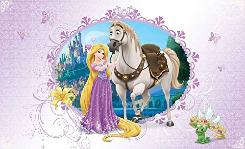 Tapetokids Fototapete - Disney Prinzessinnen Rapunzel - Vlies 368 x 254 cm (Breite x Höhe) - Wandbild Drachen Krone Schloss Lange Haare