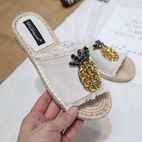 YOPAIYA Fischer Schuhe Stroh Fischer Schuhe Sandalen Frau Sommer Weiß Flache Unterseite Hausschuhe Rom Retro Weibliche Hausschuhe Espadrilles Kristall, 38