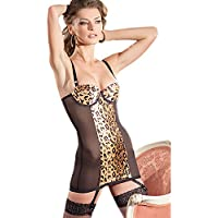 Be Wicked Women's Animal Print Cami Suspender with Underwire Padded Cups