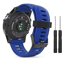 MoKo Garmin Fenix 3 Accesorios, Banda Reemplazo de Silicona Suave Deportiva con Herramientas para Garmin Fenix 3 / Fenix 3 HR Smart Watch - Azul Real
