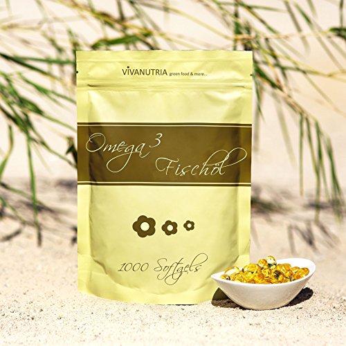 VivaNutria Omega 3 Lachsöl Softgels, Fischöl, 1000 Kapseln á 500mg