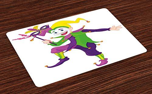 ABAKUHAUS Mardi Gras Platzmatten, Cartoon Style Jester in ikonischen Kostüm mit Maske Happy Dancing Party Figur, Tiscjdeco aus Farbfesten Stoff für das Esszimmer und Küch, - Jester Kostüm Weiblich