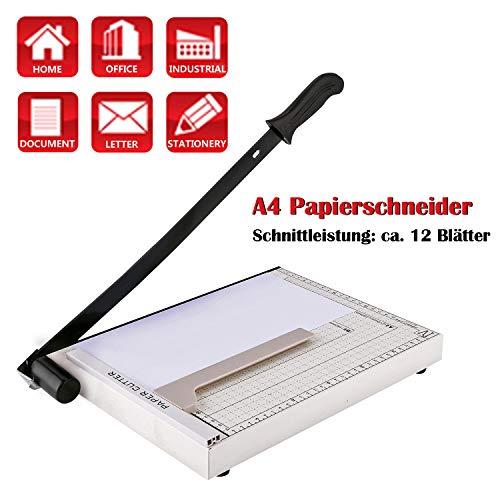 Voluker Papierschneider Profi Fotoschneider Hebelschneider Papierschneidemaschine Schneidegerät Schrottmaschineider, A3, A4, B (Weiß, A4)
