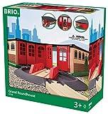 BRIO World 33736 Großer Ringlokschuppen mit Drehscheibe - Zubehör für die BRIO Holzeisenbahn -...