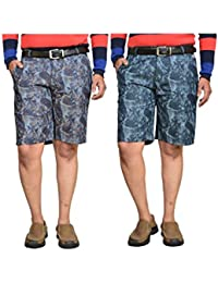 British Terminal Multi Colour Fancy Print Slim Fit Men's Cotton Shorts(Bermuda) Combo-pack Of 2