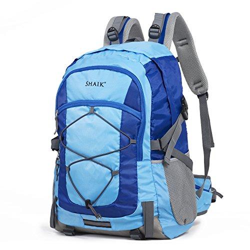 Shaik® Serie: CLIMB, SH-R001 H2o | Unisex Rucksack, Business Studenten Multifunktionsrucksack, Nylon 600D Polyester/Linen (Blau, 40 Liter - 55 x 35 x 25 cm)