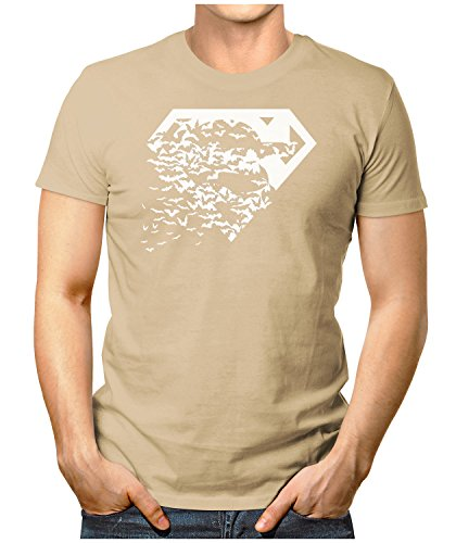 PRILANO Herren Fun T-Shirt - SUPER-BATS - Small bis 5XL - NEU Khaki