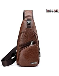 Taslar Travel Crossbody Sling Bag Backpack, Daypack, Outdoor Sports Bicycling Hiking Multipurpose Shoulder Chest Bag Lightweight with Charging Port for Men Women Boys Girls (Brown)