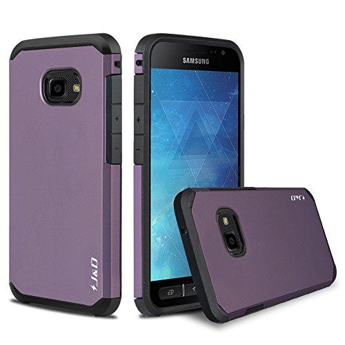 J&D Kompatibel für Galaxy Xcover 4 Hülle, [ArmorBox] [Doppelschicht] [Heavy-Duty-Schutz] Hybrid Stoßfest Schutzhülle für Samsung Galaxy Xcover 4 - Violett