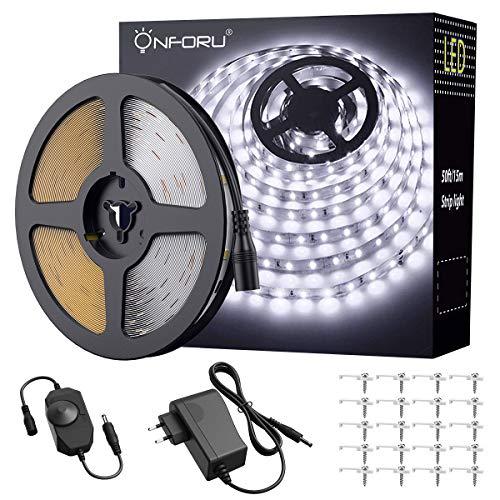 Onforu 15M LED Streifen mit Netzteil   LED Strip 450 LEDs Lichtband mit AN/AUS-Schalter   Selbstklebend LED Band   6000K Kaltweiß   Innen-und Außenbeleuchtung für Haushalt Küche Deko