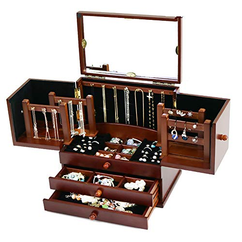 Organizzatore per scatola di gioielli con farfalle in legno per ragazze, scatola rimovibile per gioielli con cassetti rimovibili multifunzione vintage da donna adatto per regali di nozze,marrone