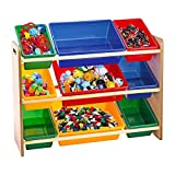 Taylor & Brown Toy Storage, 3Ripiani Rack Organizer con 9scatole contenitori di plastica per Bambini Camera dei Bambini