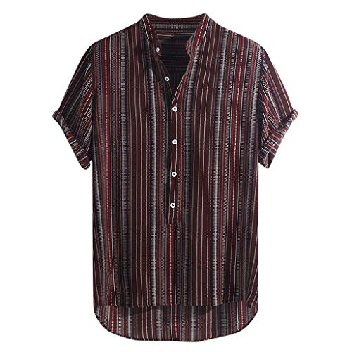 9757a17dd0 Mosstars Mens Henley Shirts, Male Summer Sale Casual Striped Buttons Fly  Breathable Tee Tops Beach Party Short Sleeve T Shirts Pullover Plus Size ...