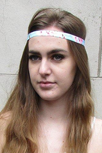 Imprimé floral rose bleu bandeau élastique Boho festival Rockabilly Vintage 3 AA * * * * * * * * exclusivement vendu par – Beauté * * * * * * * *