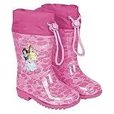 Perletti Disney Prinzessinnen Kinder Mädchen Regenstiefel - Disney Princess Wasserdichte Stiefel mit Rutschfeste Sohle und Kordelzug - Cinderella Schneewittchen Belle - Rosa Pink (28/29 EU)
