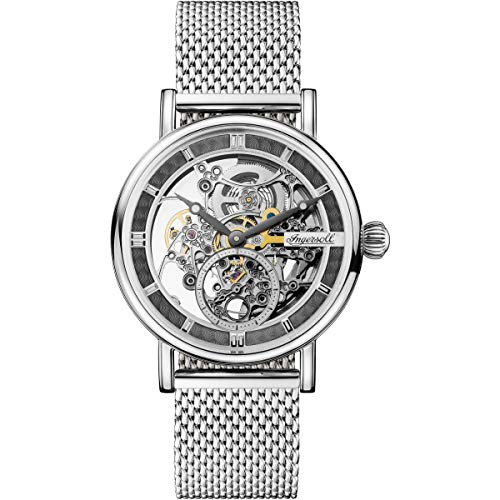 Ingersoll Herald Skeleton Automatic Watch, 40 mm, Grey, Mesh Strap, I00405