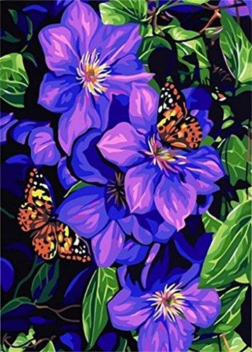 DIY Malerei Clematis & Butterflies-DIY Anstrich durch Nummer Kits 16x20 ZollÖlgemälde Dekoration...