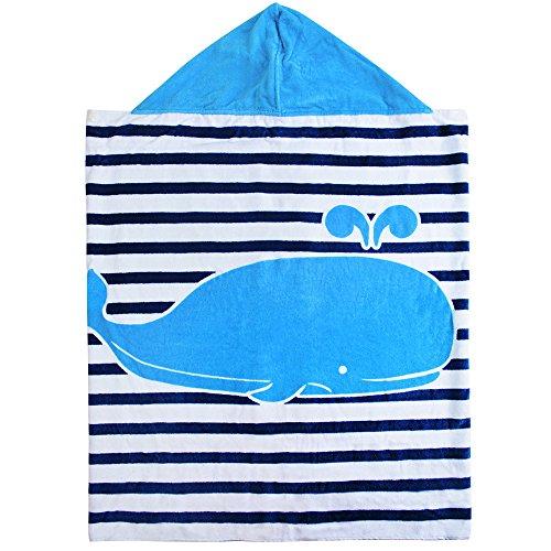 Vertvie® Kinder Kapuzen Handtuch Kapuzenponchos Schwimmen Badetuch Bademäntel Strand mit Cartoon Muster 76*127cm für Jungen und Mädchen (127cmx76cm, Weiße und Blaue Streifen)