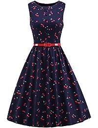 iLover Frauen 50er Jahre Vintage Hepburn Button Dekoration Swing Party Cocktail BallGown Druck Kleid