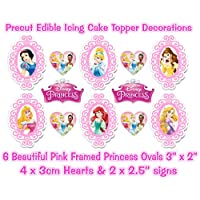 DISNEY PRINCESS EDIBLE *PRECUT* ICING PINK FRAMED OVALS CAKE TOPPERS & EXTRA