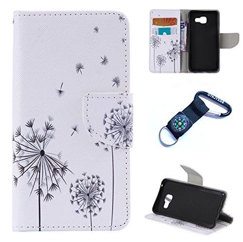 Preisvergleich Produktbild Galaxy A3 (2016) Hülle Blume Premium PU Leder Schutzhülle für Samsung Galaxy A3 (2016) A310 (4, 7 ZollBookstyle Tasche Schale PU Case mit Standfunktion+Outdoor Kompass Schlüsselanhänge (8)