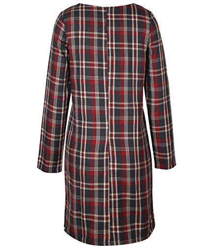 ISASSY Femme Courte Robe Plaid Moulante Manches Longues Sexy Tunique Cocktail Vintage Jupe Marron