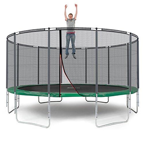 Ampel 24 Outdoor Trampolin Ø 490 cm Grün | Komplett mit Außenliegendem Netz | Gartentrampolin mit 12 Gepolsterten Stangen | Sicherheitsnetz mit Stabilitätsring | Belastbarkeit 180 kg