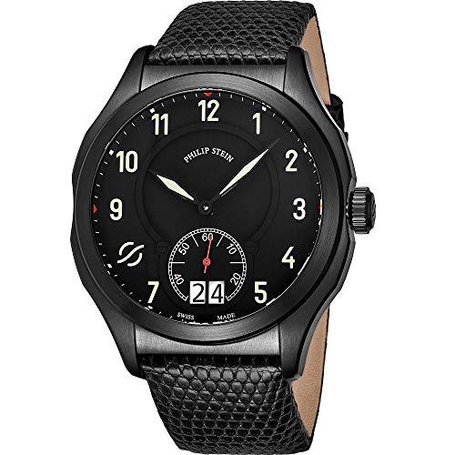 Philip Stein Men's Prestige 47mm IP Steel Case Swiss Quartz Watch 17BSBKLZB
