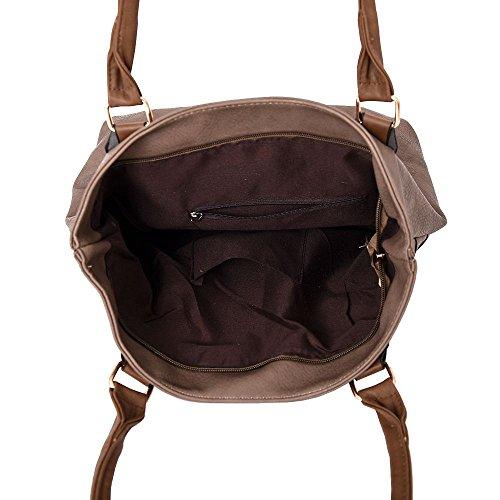 Haute für Diva S NEU Reißverschluss-Detail Zweiton Kunstleder Damen Mode Schulter Handtasche - Orange, Large Khaki