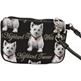 Signare Fashion Canvas Tapestry Coin Purse Wristlet in Westie Dog Design