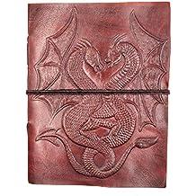 Chic & Zen–Cuaderno, bloc de notas, diario, libro, piel auténtica, Vintage, Double Dragon, 13cm x 17cm)