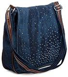 styleBREAKER Jeans Umhängetasche mit Strass Applikationen/Handtasche 02012004, Variante-4