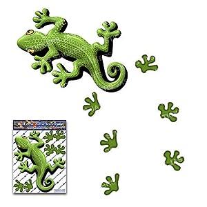 Grüner Gecko Tier Lustige Aufkleber für Auto LKW Wohnwagen - ST00031GR_SML - JAS Aufkleber