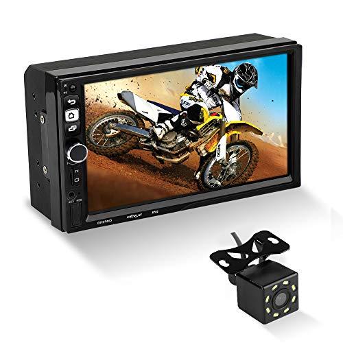 MiCarBa 7-Zoll-Doppel-Din-Autoradio-Android-System GPS-Navigationsunterstützung für USB-FM-AUX-SD-Rückansicht, HD-Touchscreen-Autoradio mit MP5-Player und kabelloser Fernbedienung (CL8702CAM)