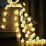 martialart Weihnachtsdeko Lichterkette 20 LED Sterne Beleuchtung Schnur Licht Batteriebetrieben Lichterkette String Light Deko Lichterketten für Wohnzimmer Party Hochzeit