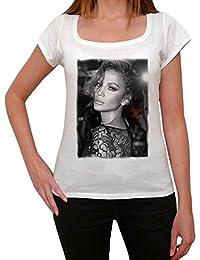 Jennifer Lopez 1, tee shirt femme, imprimé célébrité,Blanc, t shirt femme,cadeau