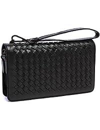 ed89397950f45 Herren Leder Clutch Bags Hand-Gestrickte Geldbörse Business Lange  Brieftasche Doppel-Loop Zipper Clutch