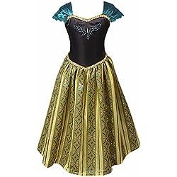 iEFiEL Vestido de Princesa Disfraces de Noche para Niñas con Flores Estampado Bordado Negro y Dorado Cosplay Negro y Dorado 4-5 años