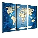 """LANA KK - Weltkarte Leinwandbild mit Korkrückwand Zum pinnen der Reiseziele – """"World Map Blue Ocean"""" - Deutsch - Kunstdruck-Pinnwand Globus in Blau, dreiteilig & fertig gerahmt in 150x100cm"""